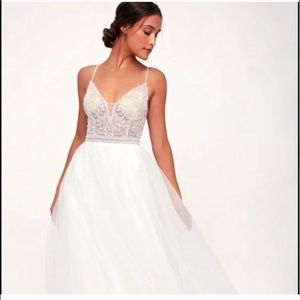 Capris White Beaded Rhinestone Lace zip Maxi Dress